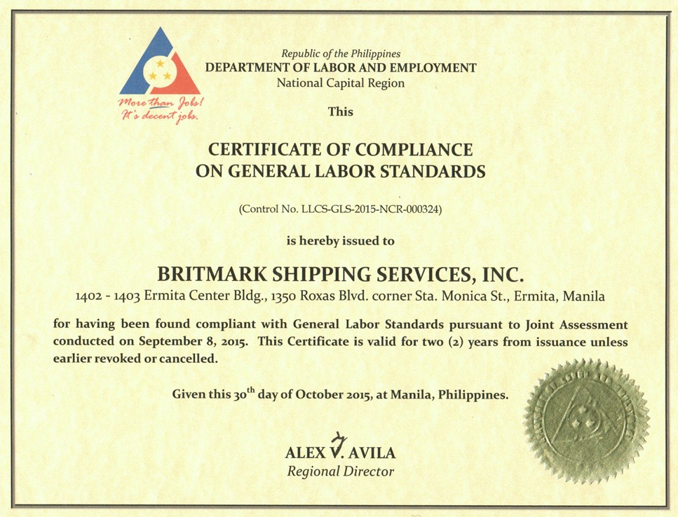 Accreditation britmark shipping services inc - Compliance officer certificate ...